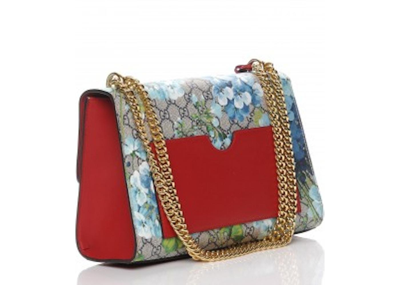 203d8e85 Gucci Padlock Shoulder Bag GG Supreme Monogram Blue Overlay Floral Print  Medium Blue/Red