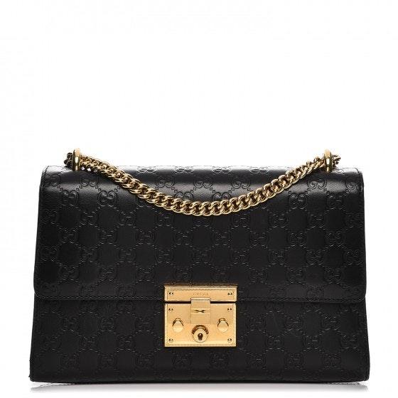 Gucci Padlock Shoulder Bag Monogram Guccissima Medium Black