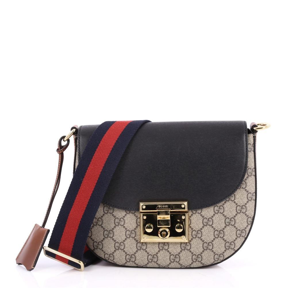 Gucci Padlock Shoulder Bag Monogram GG Medium Tan/Black/Brown/Red