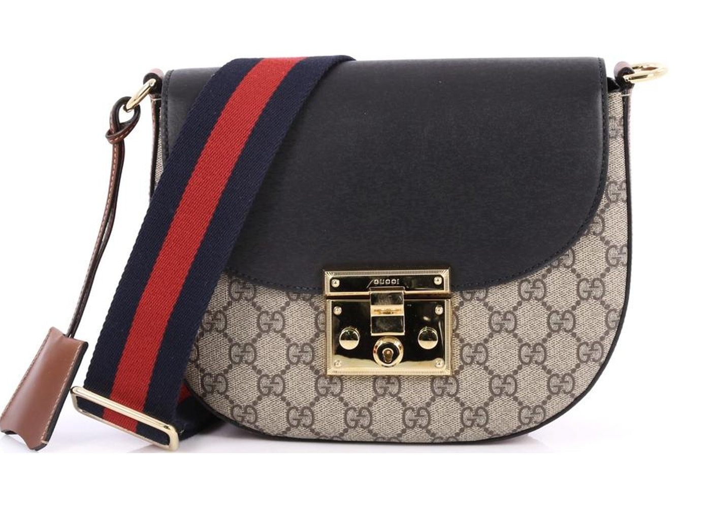 a1ee80df Gucci Padlock Shoulder Bag Monogram GG Medium Tan/Black/Brown ...