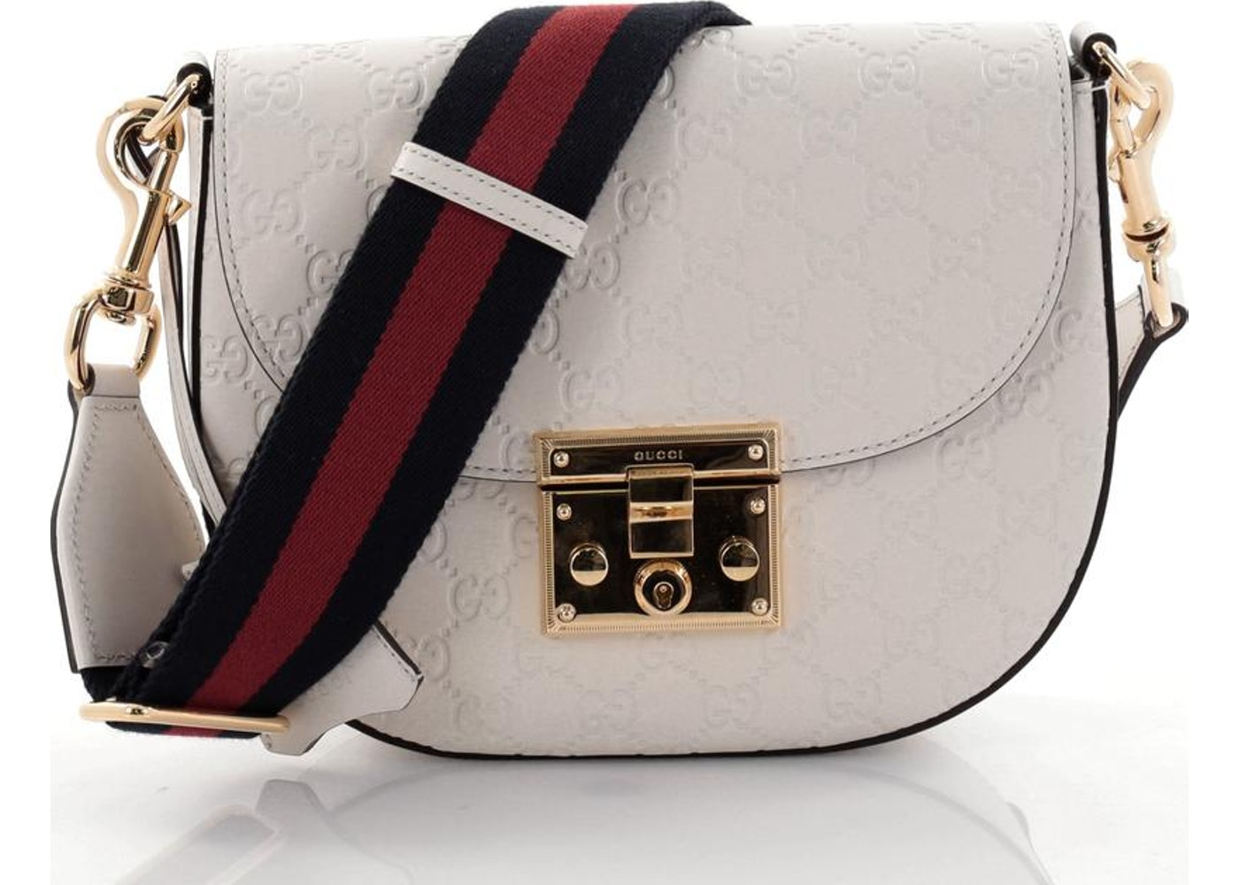 Gucci Padlock Saddle Shoulder Bag Monogram Guccissima Medium Off White Black Red