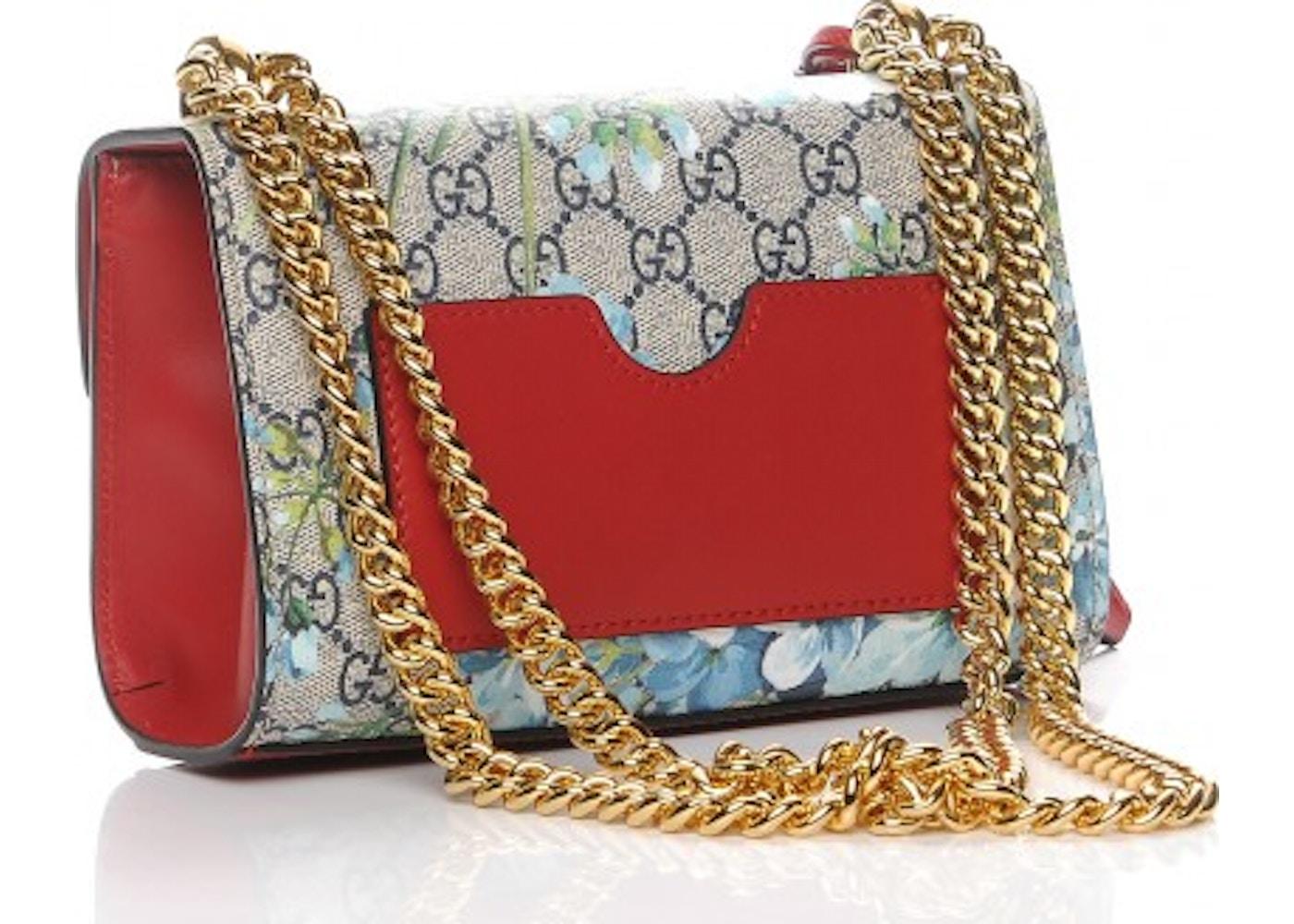 1c4b68d5c61e Gucci Padlock Shoulder Bag Blooms GG Supreme Small Blue/Red/Beige
