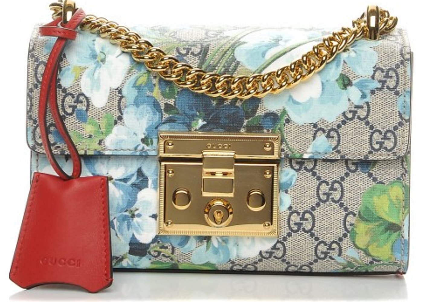 018305295903 Gucci Padlock Shoulder Bag Blooms GG Supreme Small Blue/Red ...
