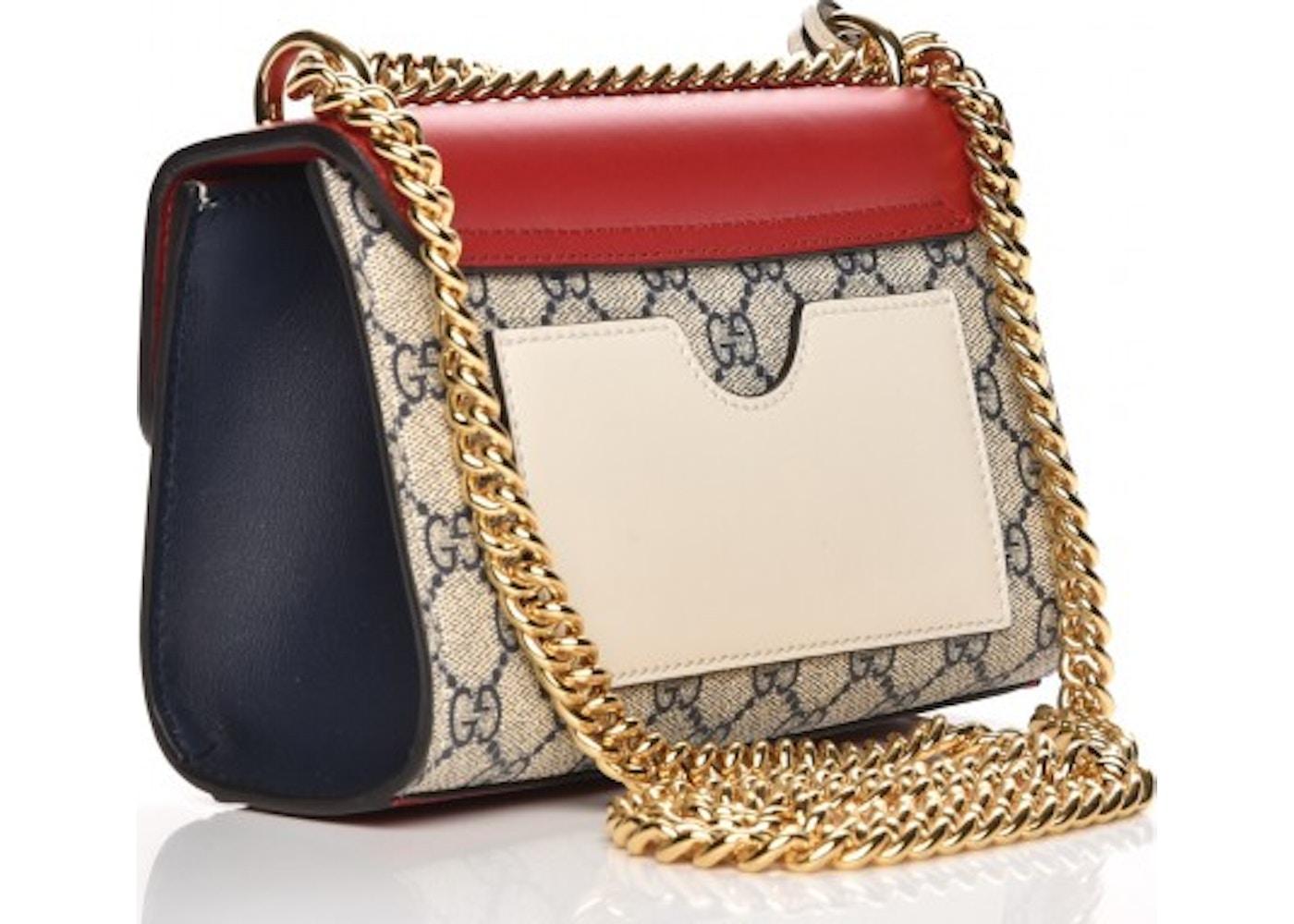 736a5d85 Gucci Padlock Shoulder Bag Monogram GG Supreme Small Navy/Beige/Red