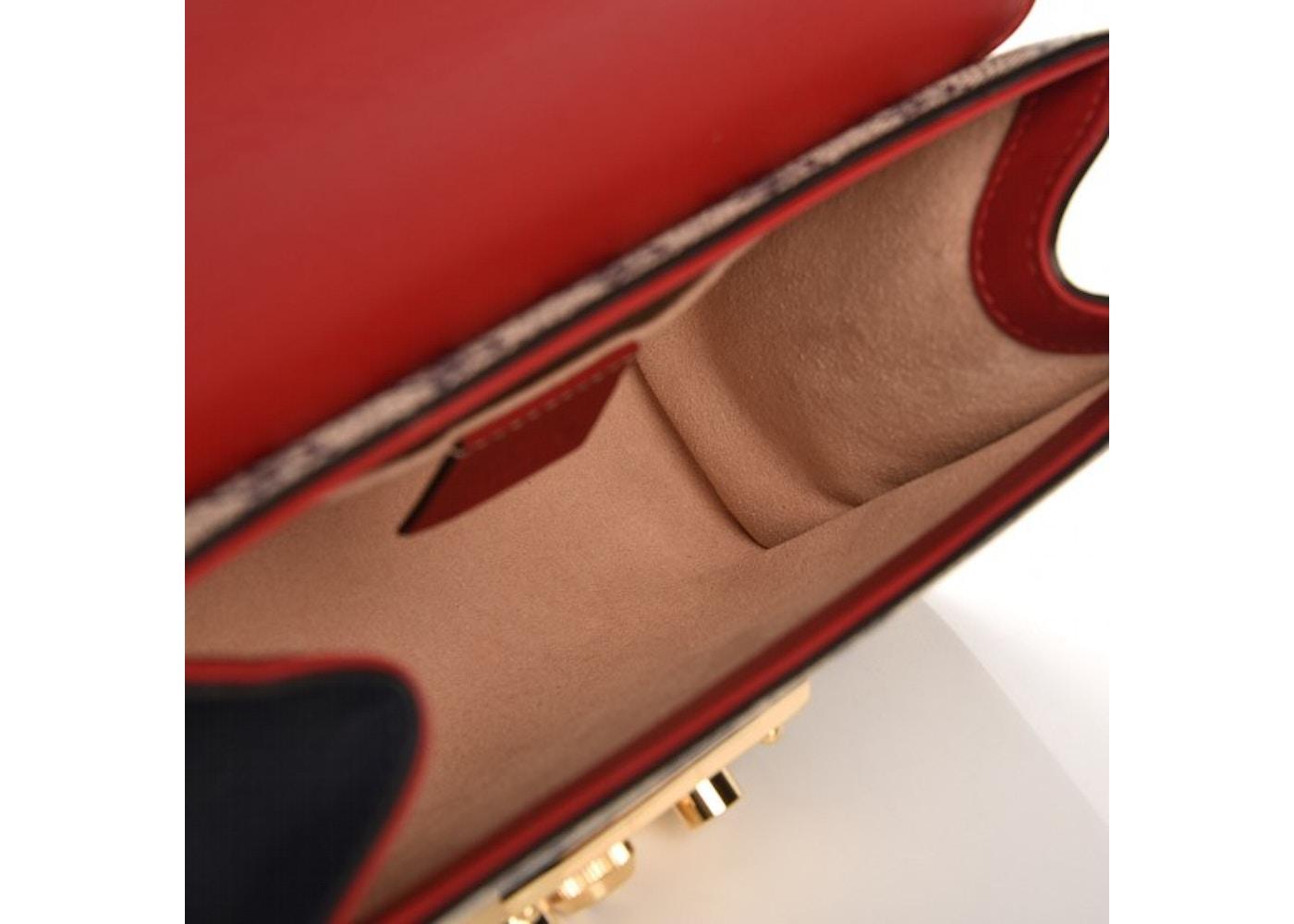 1f4475c87c21 Gucci Padlock Shoulder Bag Monogram GG Supreme Small Navy Beige Red
