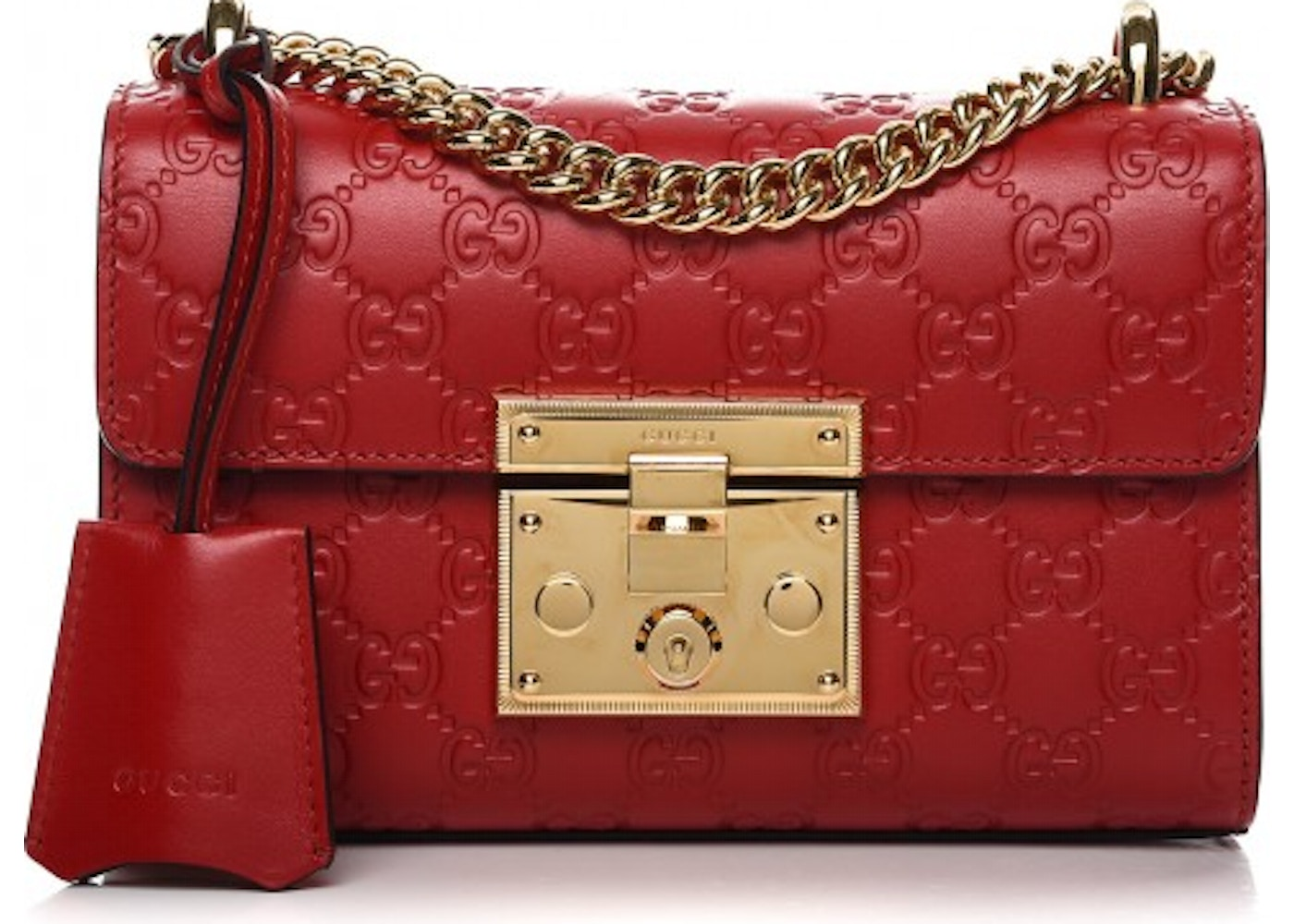 d87bda3e1a9c Gucci Padlock Shoulder Bag Monogram Guccissima Small Hibiscus Red. Monogram  Guccissima Small Hibiscus Red