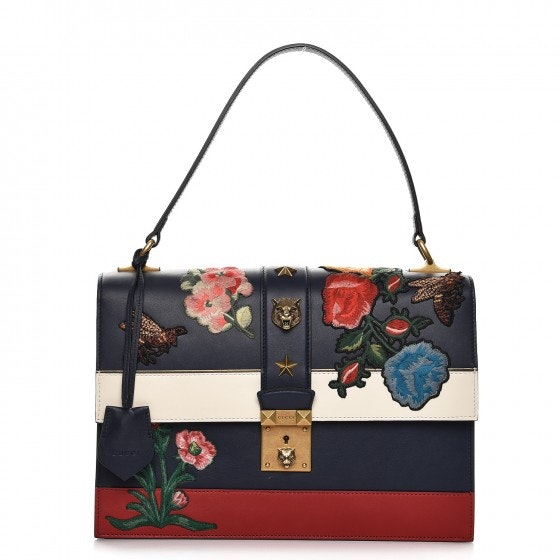 Gucci Riche Strip Shoulder Floral and Bee Embroidered Blue/White/Red