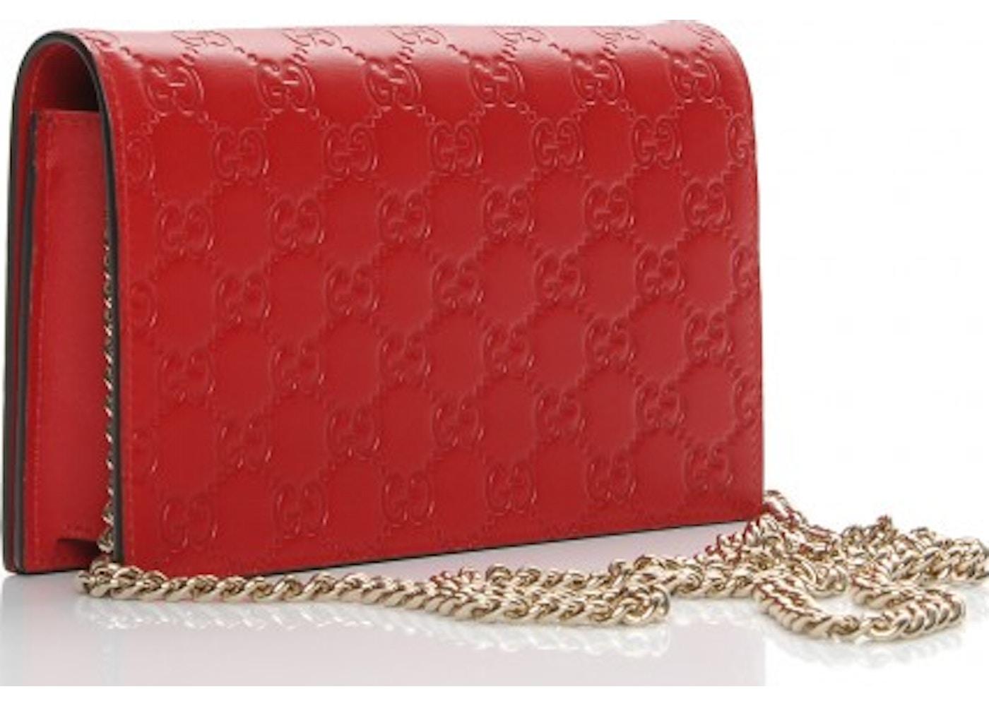 4f20e6385 Gucci Signature Shoulder Bag Monogram Guccissima Mini Red