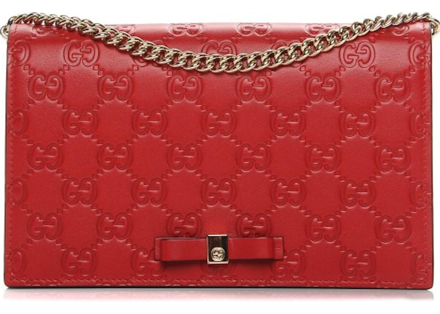 ae6b5a881 Gucci Signature Shoulder Bag Monogram Guccissima Mini Red. Monogram  Guccissima Mini Red