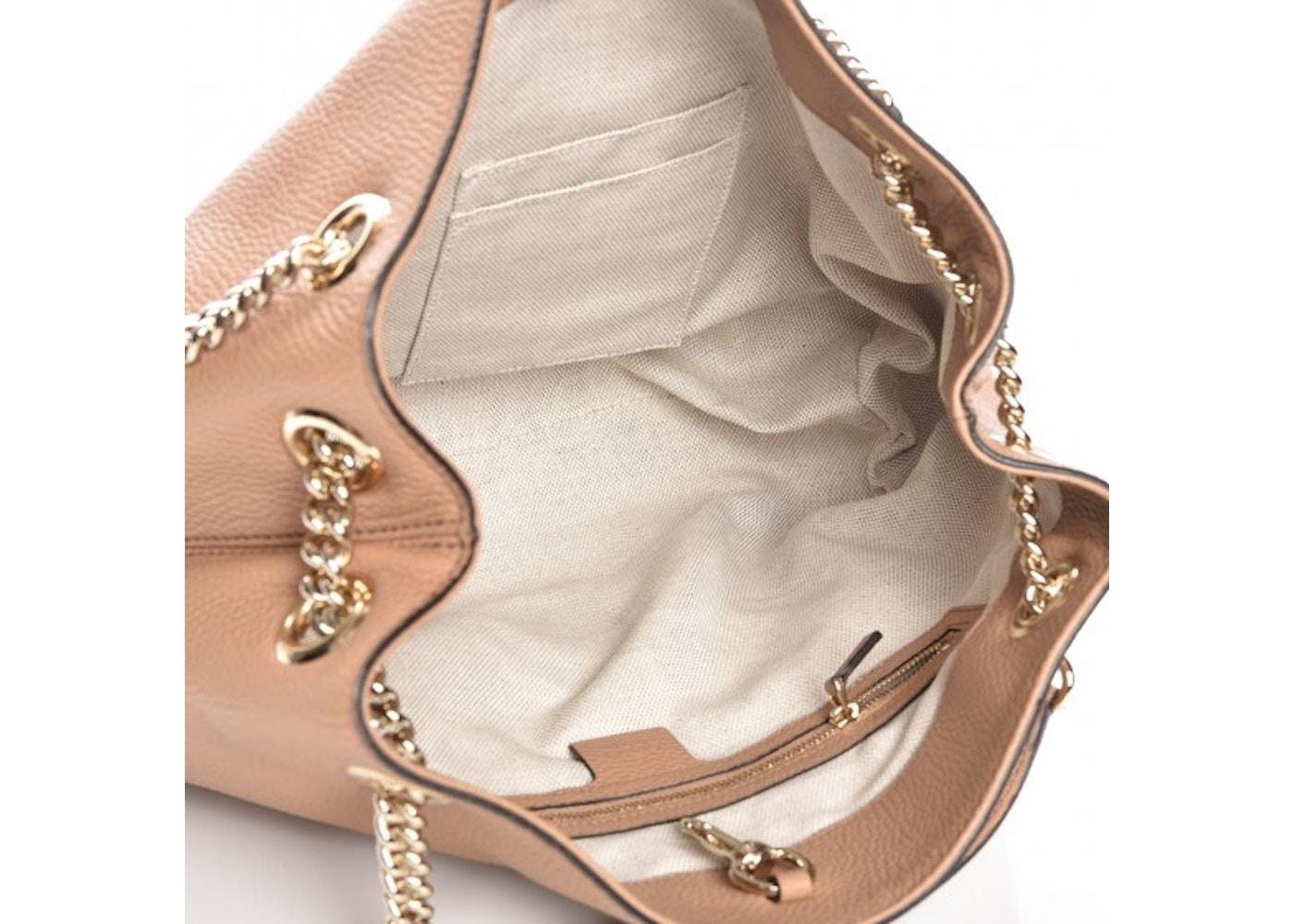 0ea0f83ee8dc Gucci Soho Chain Shoulder Interlocking GG Embroidered Logo Medium Rose Beige