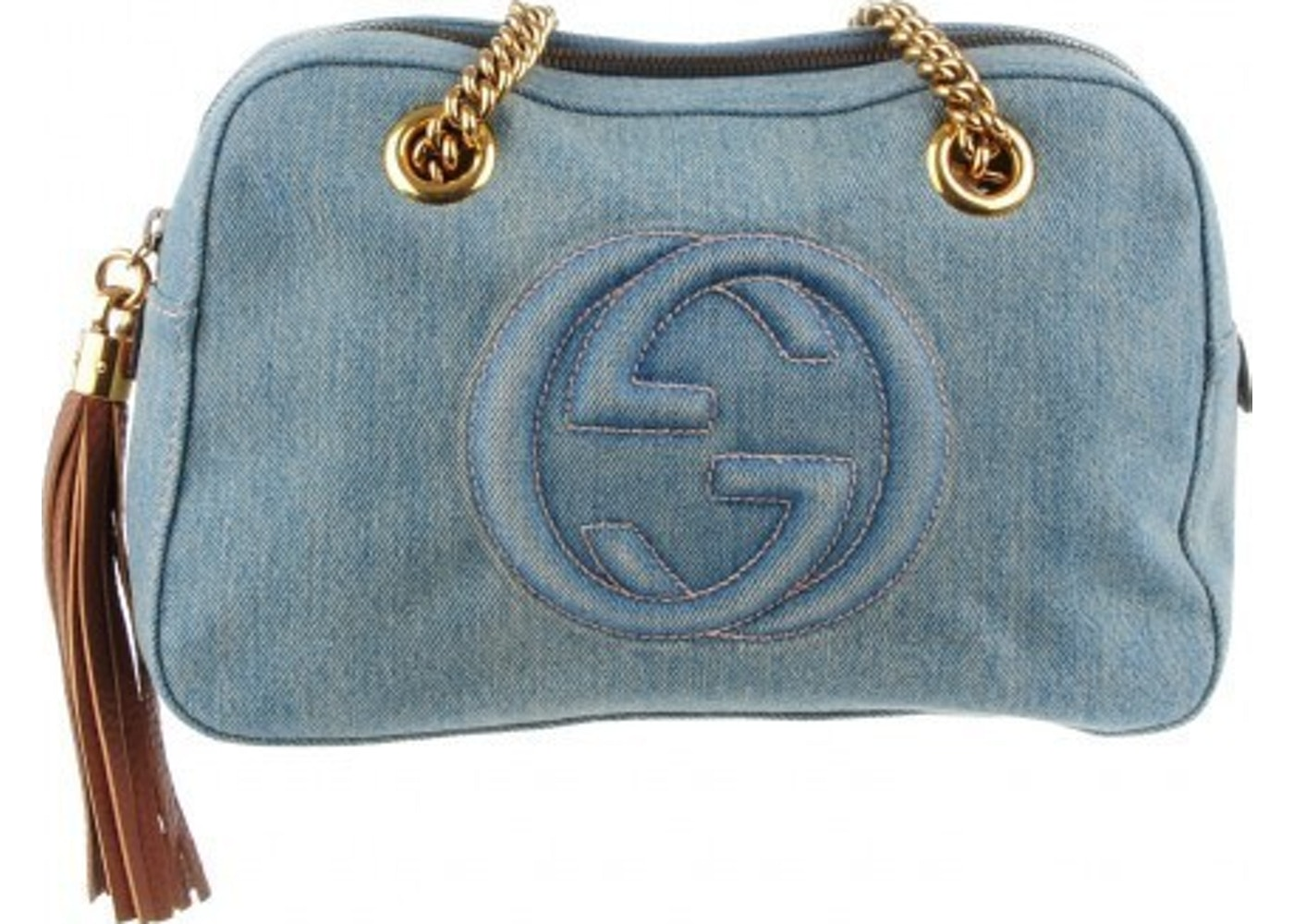 250dec6234ad36 Sell. or Ask. View All Bids. Gucci Soho Chain Shoulder Interlocking GG  Quilted Stitched Logo Small Blue