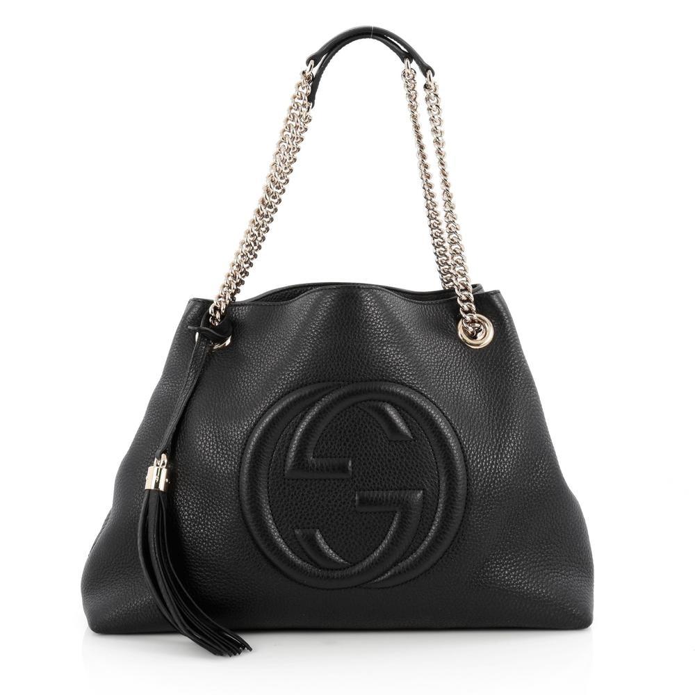Gucci Soho  Shoulder Bag GG Interlocking G Medium Black