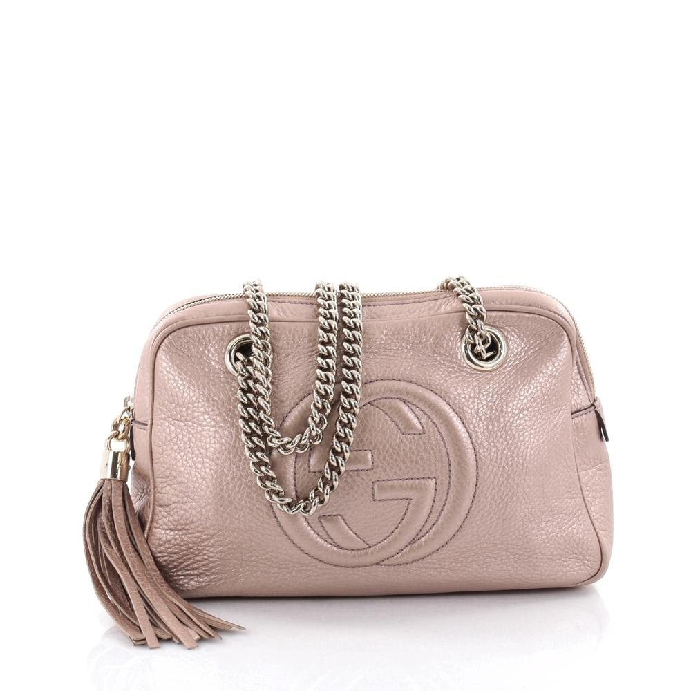 Gucci Soho Chain Zipped Shoulder Bag Metallic Small Rose