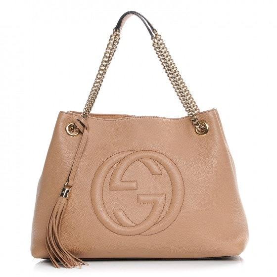 Gucci Soho Shoulder Bag Pebbled Medium Tan