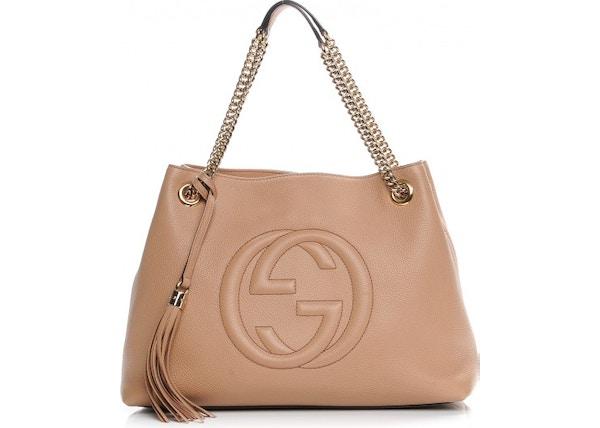 96e42d21a52 Gucci Soho Shoulder Bag Pebbled Medium Tan
