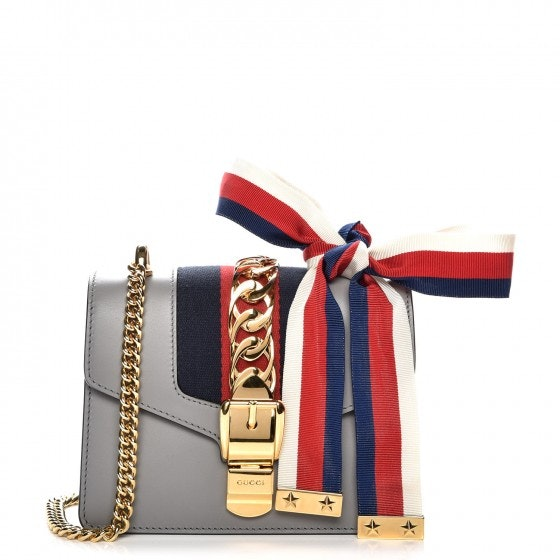 Gucci Sylvie Shoulder Bag Web Mini Grey/Red/Navy Blue