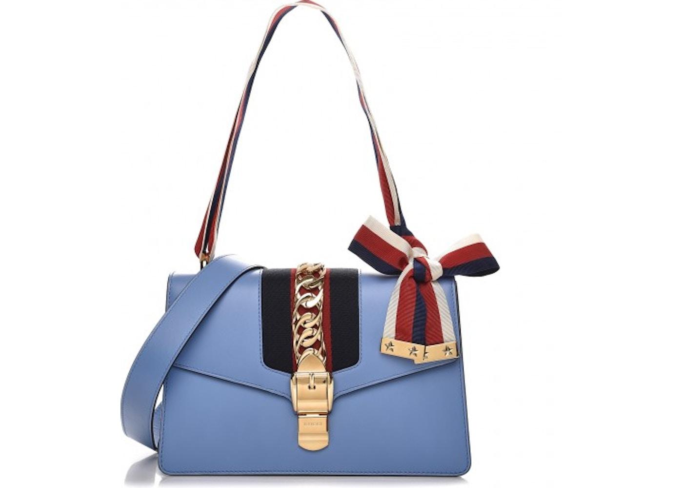 f5a4c68fa4bc19 Gucci Sylvie Shoulder Small Light Blue. Small Light Blue
