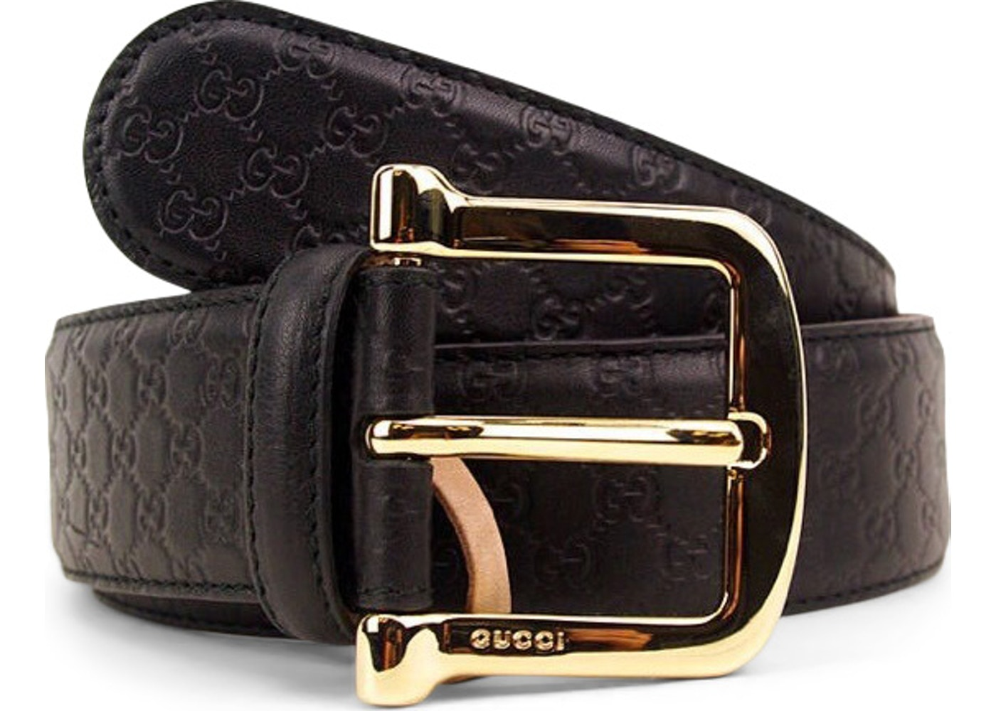 91830ec50473 Gucci Signature Belt Guccissima Embossed Gold Black