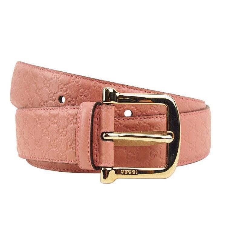 Gucci Signature Belt Guccissima Embossed Pink