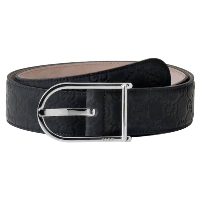 Gucci Signature Belt Guccissima Embossed Silver Black