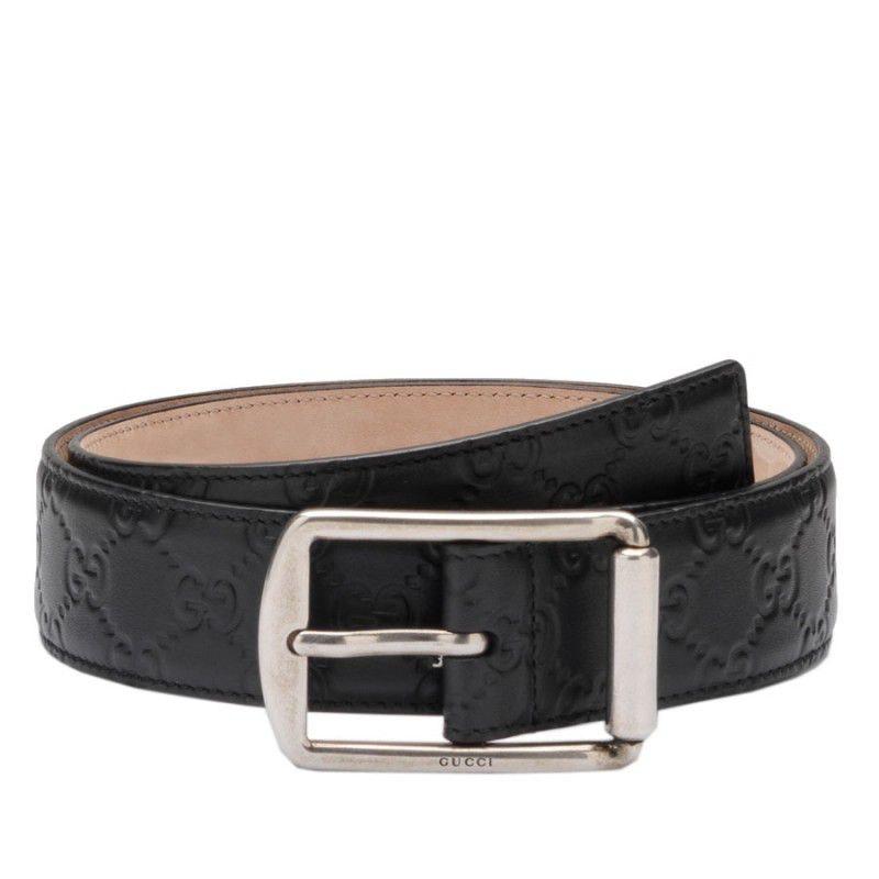Gucci Signature Belt Guccissima Embossed Square Buckle Black