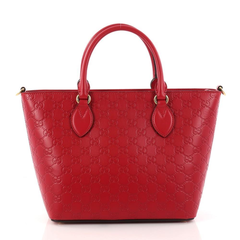 Gucci Signature Convertible Tote Guccissima Medium Red