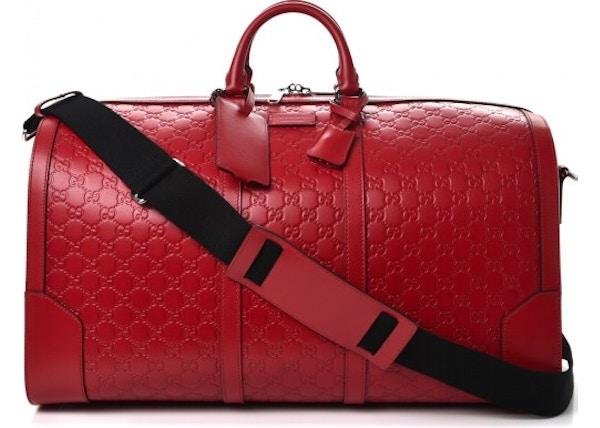 47f342d7cb07 TOP. Gucci Signature Duffle Monogram Guccisssima Large Hibiscus Red