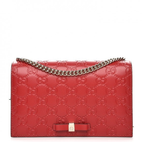 Gucci Signature Guccissima Mini Hibiscus Red