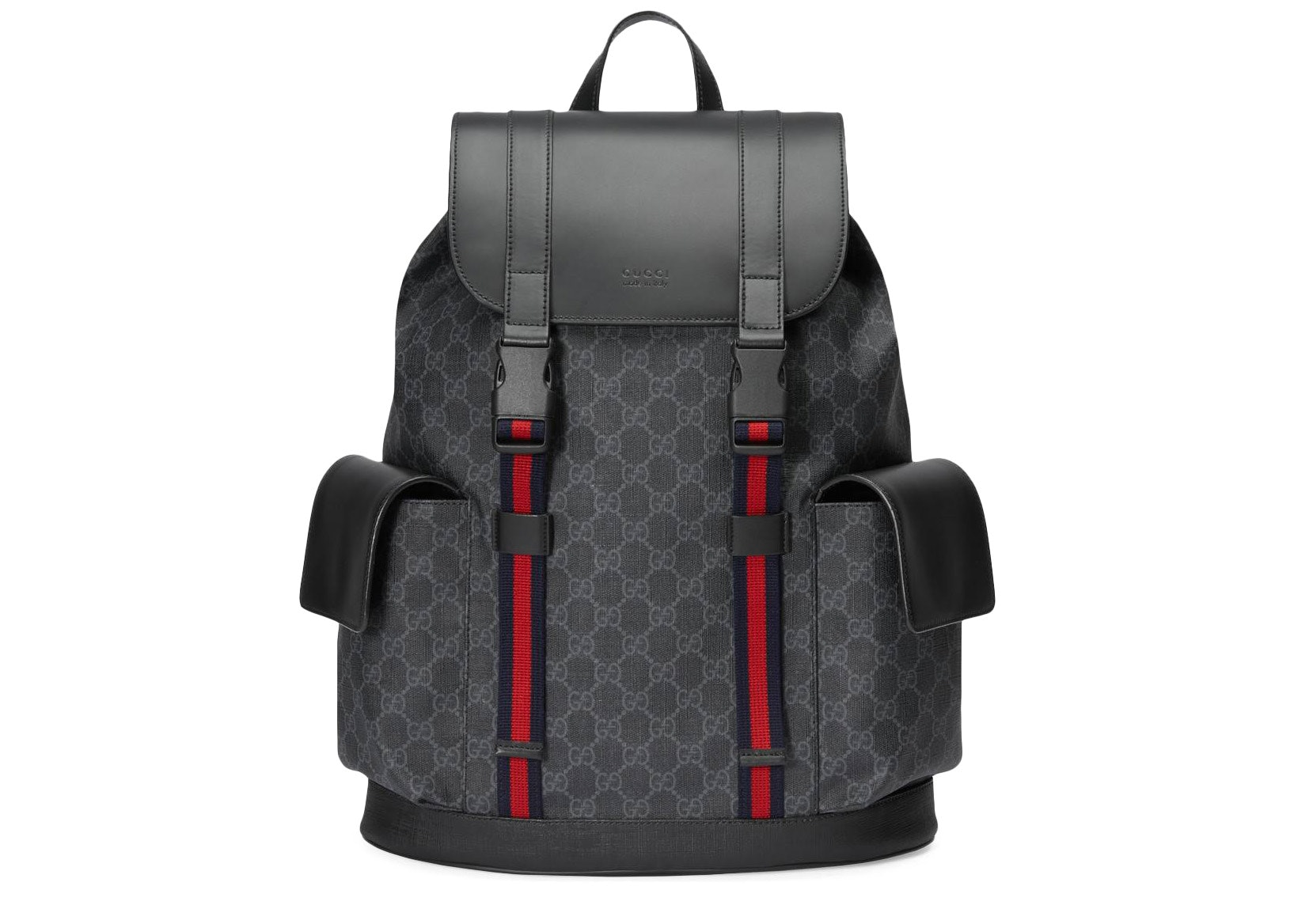 Gucci Soft Backpack GG Supreme Blue/Red Web Black/Grey