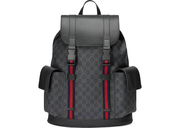 e412d7f83b81 Gucci Soft Backpack GG Supreme Blue Red Web Black Grey