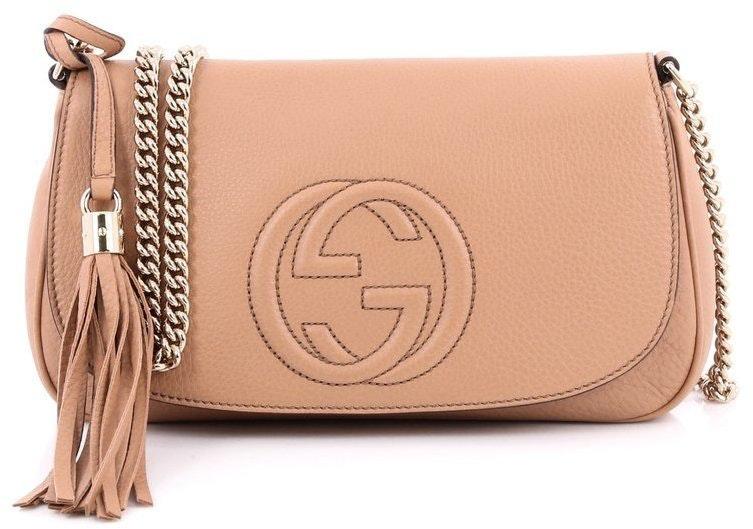 Gucci Soho Crossbody Chain Strap Medium Beige