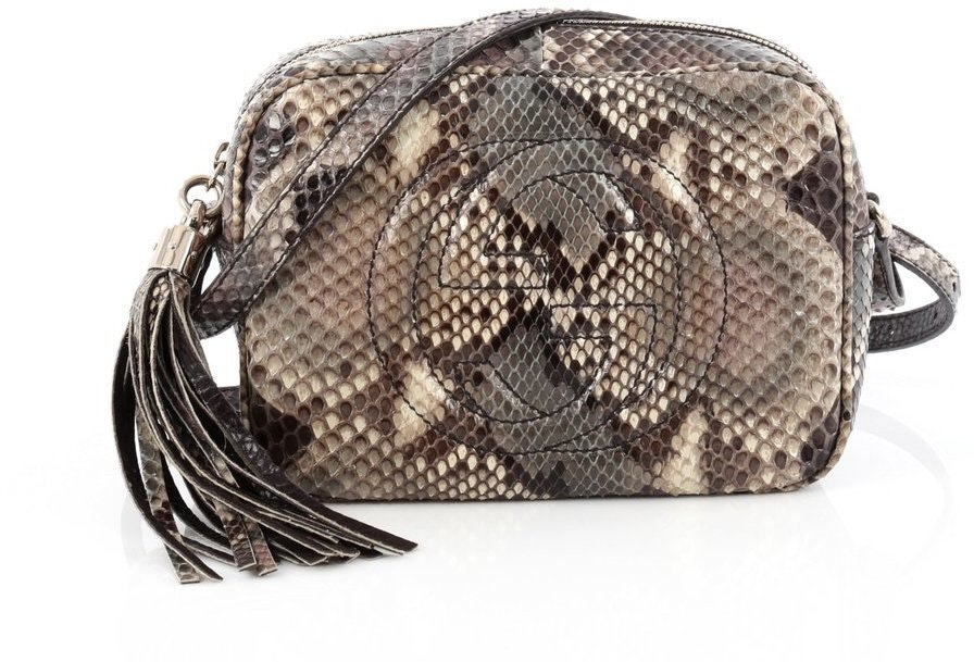 Gucci Soho Disco Crossbody Python Small Grey
