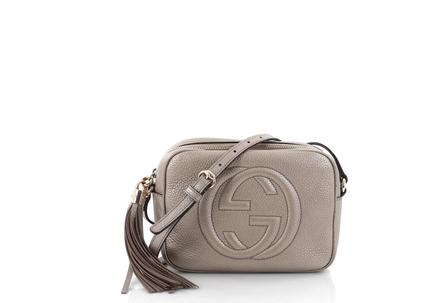 13fee48d32e Gucci Soho Disco Crossbody GG Interlocking GG Logo Small Champagne. GG  Interlocking GG Logo Small Champagne