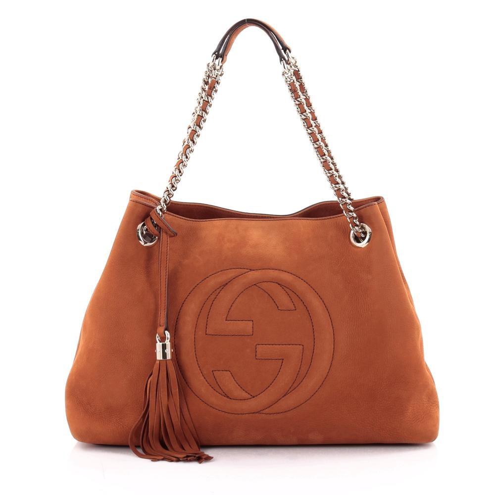 Gucci Soho Chain Strap Shoulder GG Interlocking Gucci Logo Stitched Medium Burnt Orange