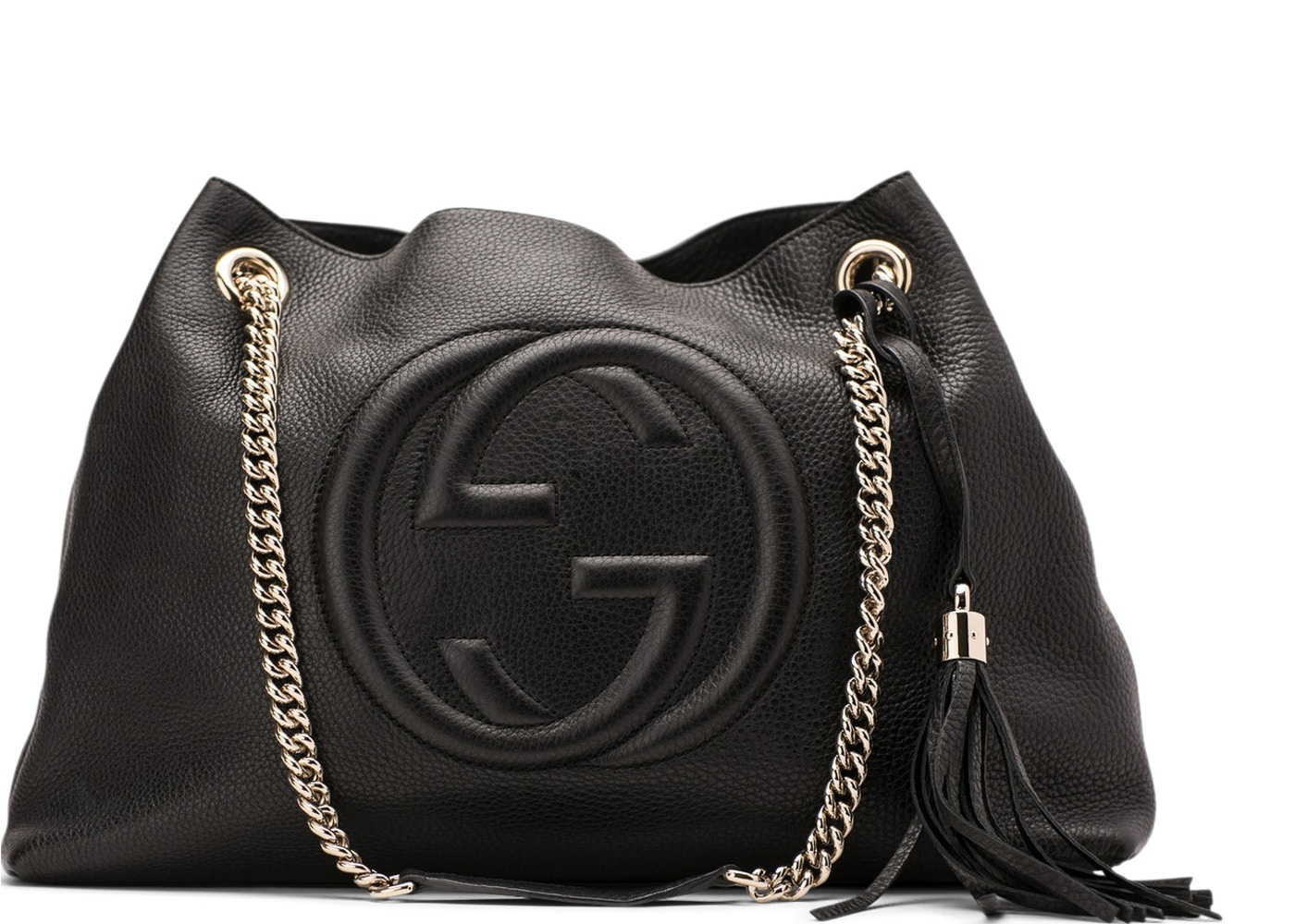 Gucci Soho Shoulder Bag Chain Strap Medium Black a10c8a029