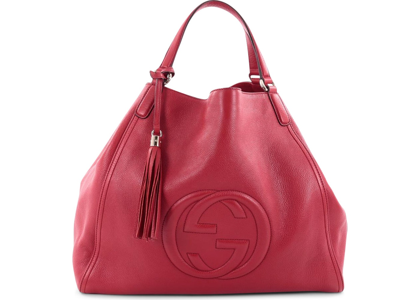 d211cac2e2a Gucci Soho Shoulder Bag GG Interlocking GG Logo Stitched Large Red. GG  Interlocking GG Logo Stitched Large Red