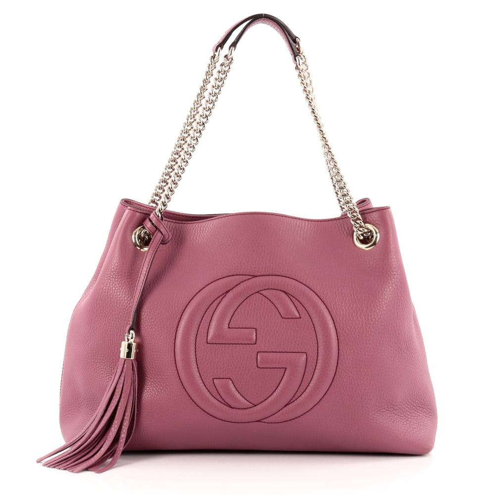 Gucci Soho Shoulder Bag GG Chain Strap Interlocking Gucci Logo Stitched Medium Dark Pink