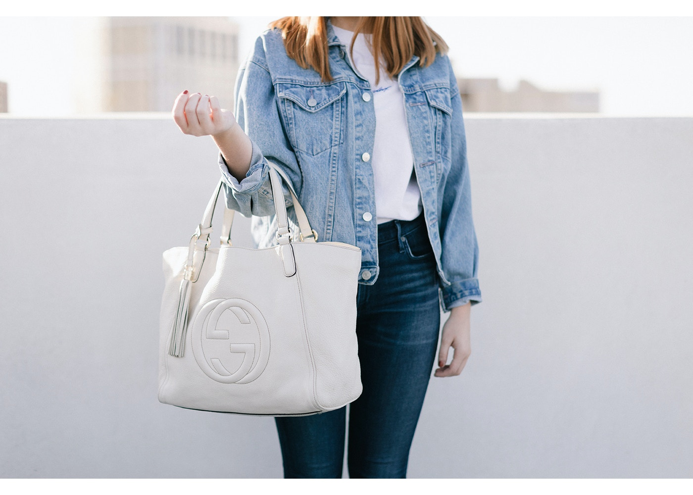 cf22b0b8f3 Gucci Soho Tote Medium Off White