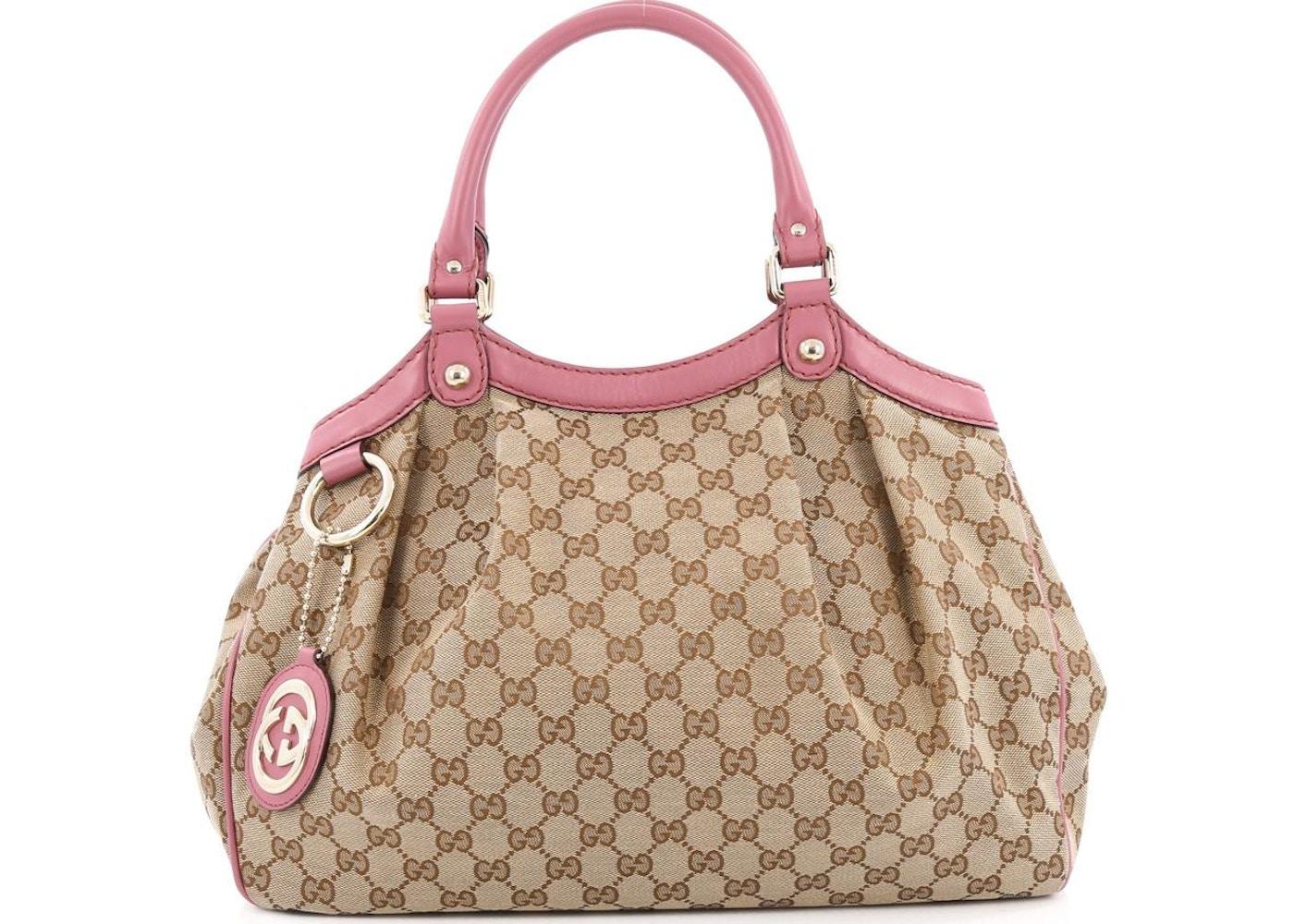 ba01113de7b Gucci Sukey Tote Diamante GG Leather Charm Medium Brown Pink