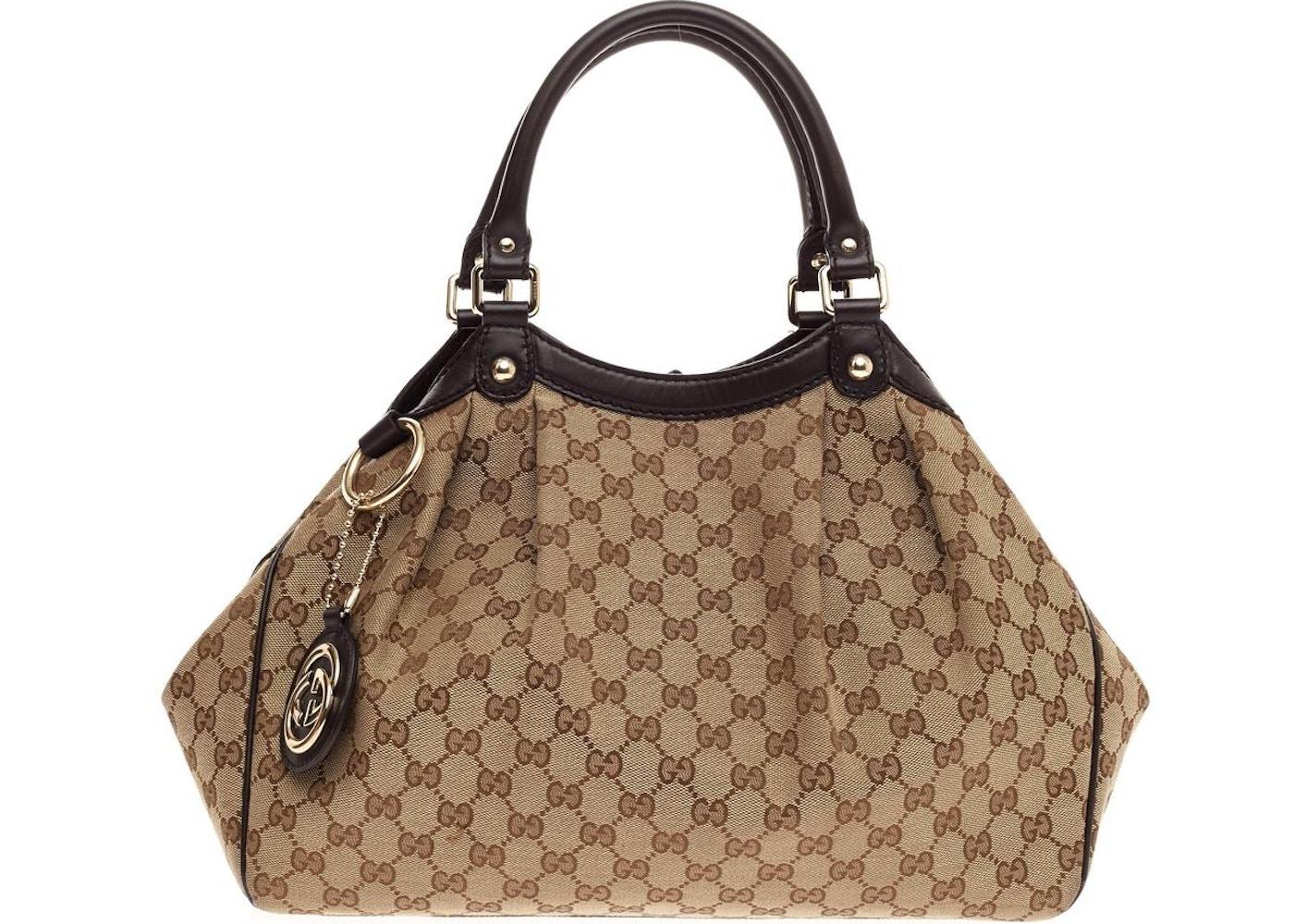 a47a94702ba455 Gucci Sukey Tote GG Monogram GG Leather Charm Medium Brown ...