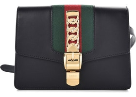 b70e732f342779 Gucci Sylvie Belt Bag Web Black/Green/Red