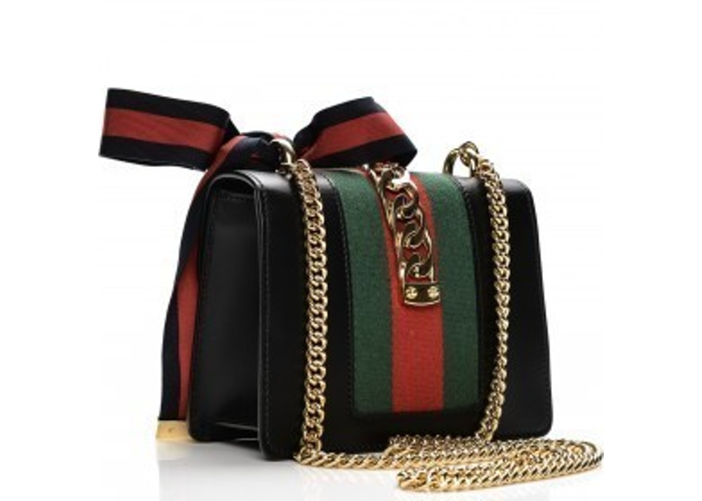 ebe4347241e2 Gucci Sylvie Shoulder GG Web Stripe Mini Black/Red/Green
