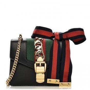 Gucci Sylvie Shoulder GG Web Stripe Mini Black/Red/Green