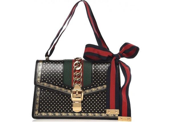 66a2738d3 Gucci Sylvie Flap Star Print Web Small Gold/Black