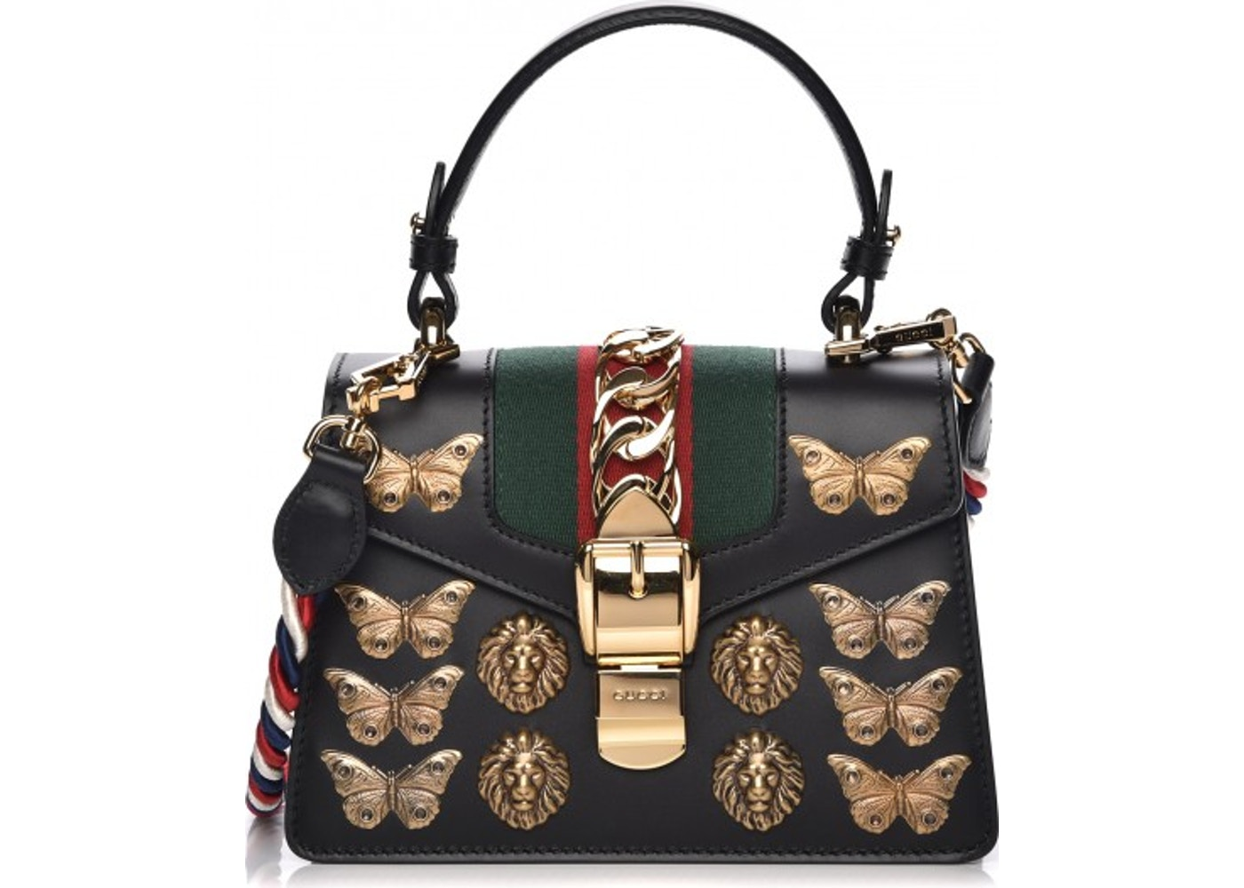 fae64124c Gucci Sylvie Shoulder Bag Web Animal Studs Mini Black/Red/Green