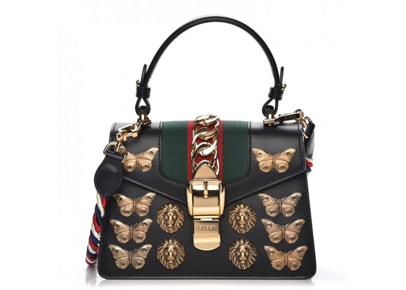 2fabf36c Gucci Sylvie Shoulder Bag Web Animal Studs Mini Black/Red/Green