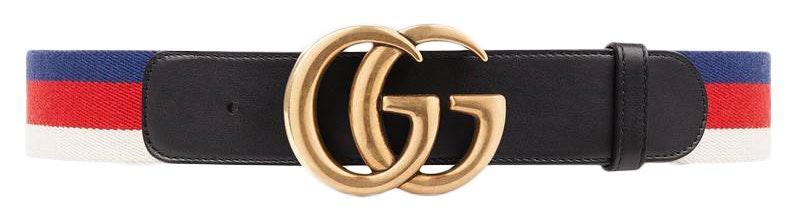 Gucci Sylvie Web Belt Double G Buckle 70 Red White Blue Black