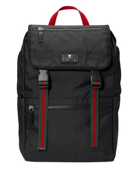 Gucci Technical Backpack Web Black