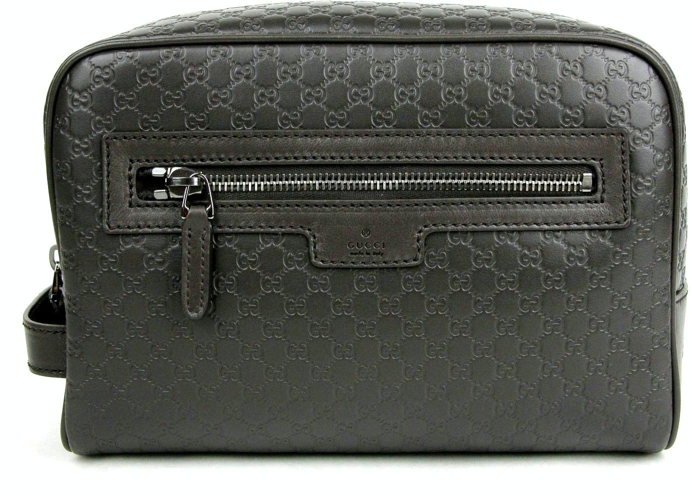 Gucci Zip Top Toiletry Bag Monogram Guccissima Brown