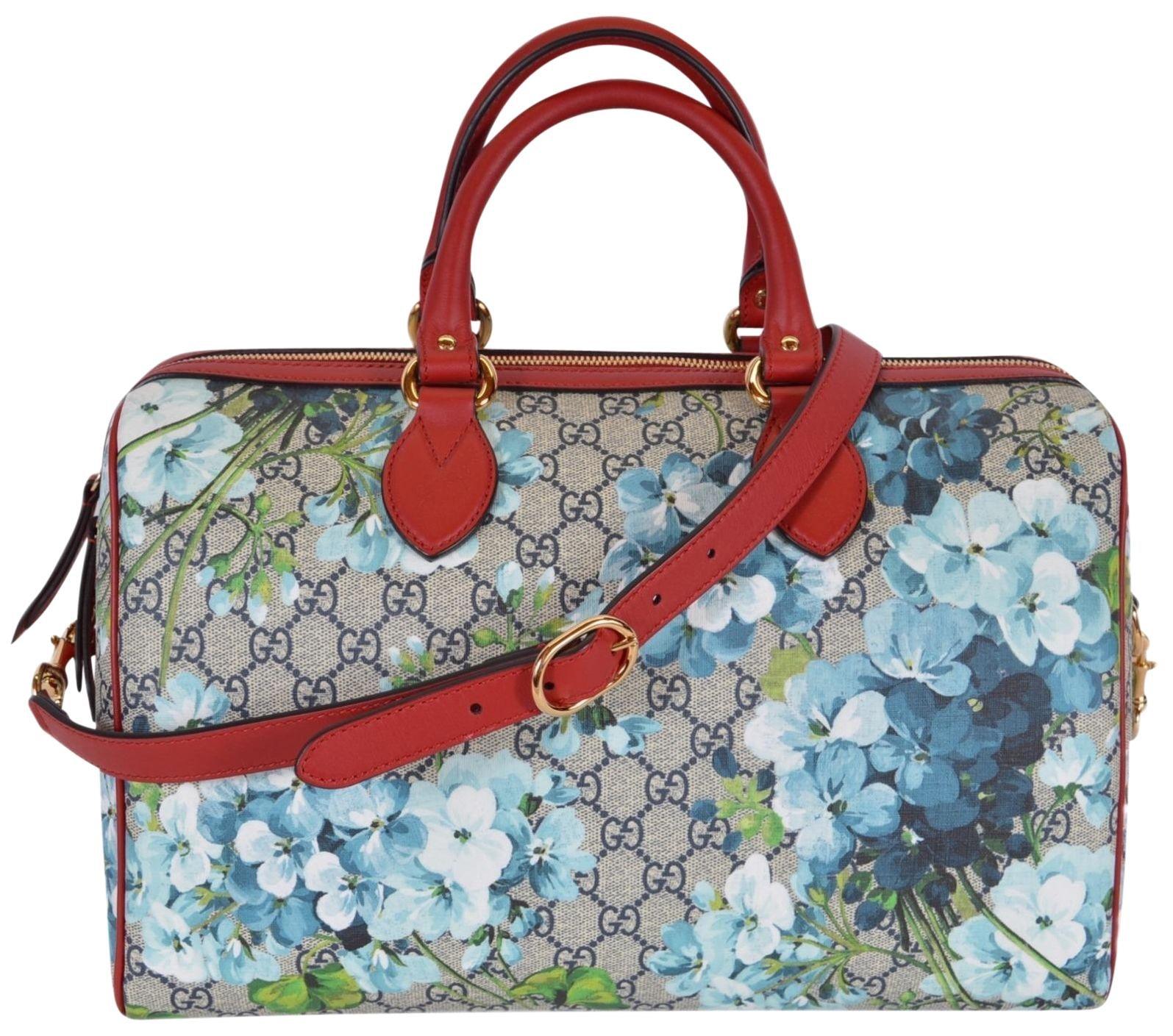 Gucci Top Handle Bag Blue Blooms Medium Beige/Ebony